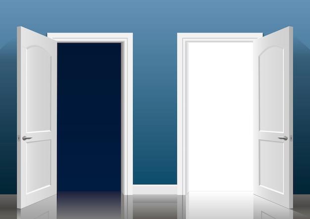 2つの開いたドア