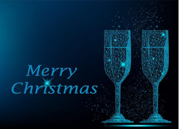 シャンパンの2つの青い多角形グラス