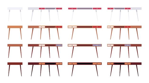 2つの引き出し付きのテーブルのセット
