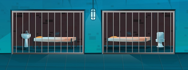 漫画のスタイルで2つのシングルルームの刑務所の廊下