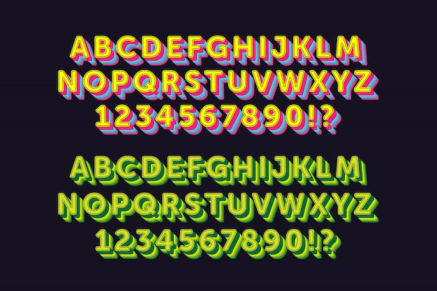 Сильный жирный алфавит с 2 стиля