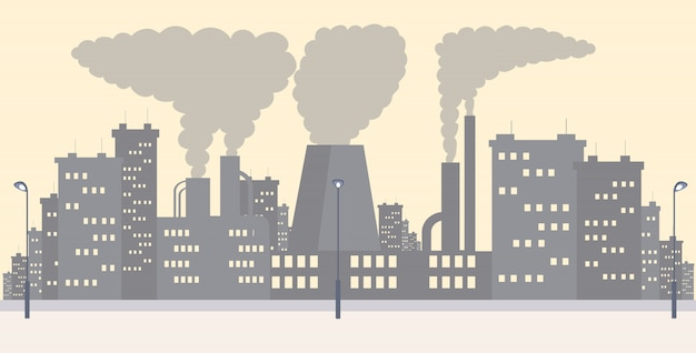 Иллюстрация городского пейзажа промышленного района плоская простая. завод испускающий дым, отходы газа и пыль мультфильм фон. загрязнение воздуха в городах, загрязнение окружающей среды опасными выбросами, проблема со2