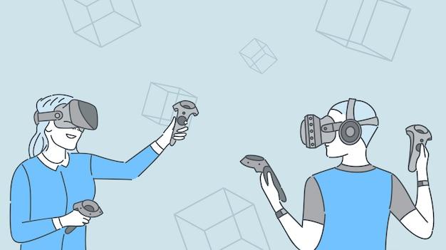 仮想現実ゲームをプレイする2人の女の子