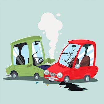 自動車事故。道路上のクラッシュ2車両のベクトル漫画イラスト。