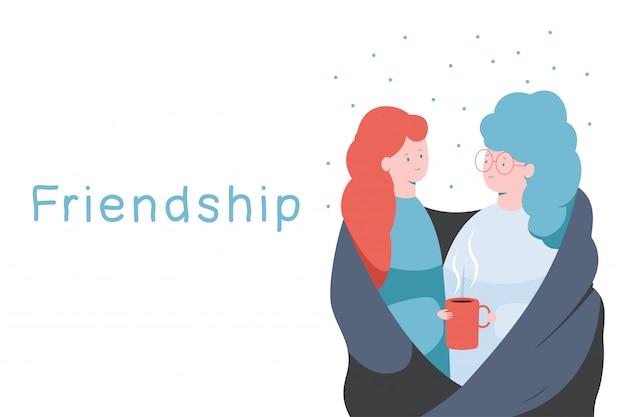 2人の幸せな女性と分離された手で赤いコーヒーカップと友情ベクトル概念図