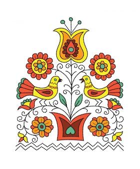 Фольклорный дизайн иллюстрации цветков в баке и 2 птиц сидя на ветвях.