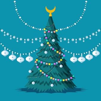 2dクリスマスツリーの概念 無料ベクター