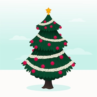 2d christmas tree illustration with globes and star