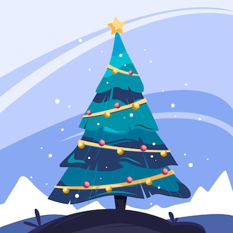 2d christmas tree in the snow