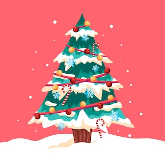 2d christmas tree with decorations