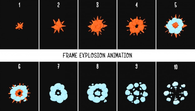 2d classic animation explosion.