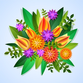 2d colorful gradient paper style flowers
