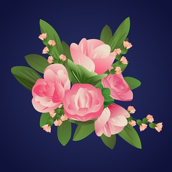 2d rose colorate in stile carta sfumata