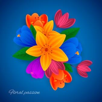2d colourful gradient paper style flowers
