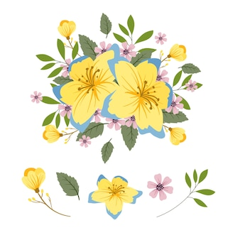 2d flowers bouquet set illustration