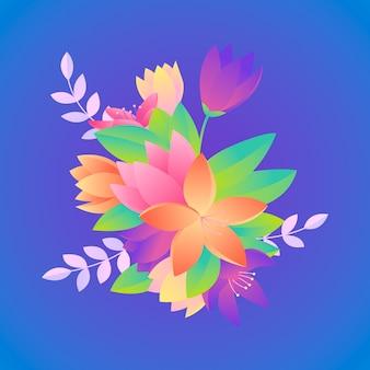2d gradient paper style flowers