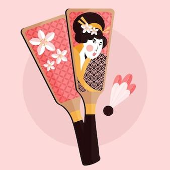 Illustrazione tradizionale 2d hanetsuki