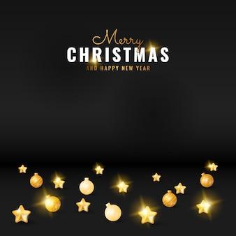 2dモダンな黒いメリークリスマスと金色の星とボールと新年の挨拶の背景