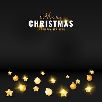 2d modern black merry christmas and happy new year greeting background with golden star and ball