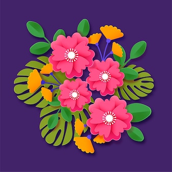 2d paper style flowers in gradient