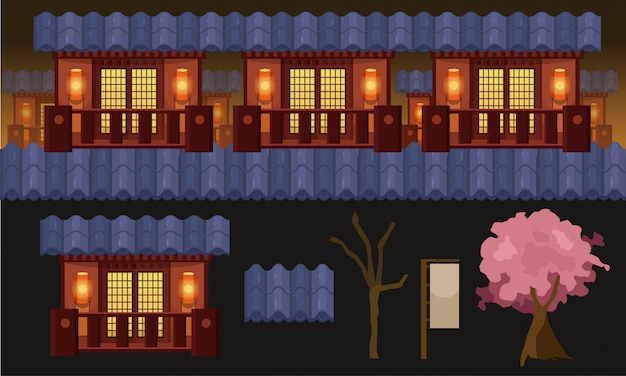 2d parallax side scrolling background game assets.