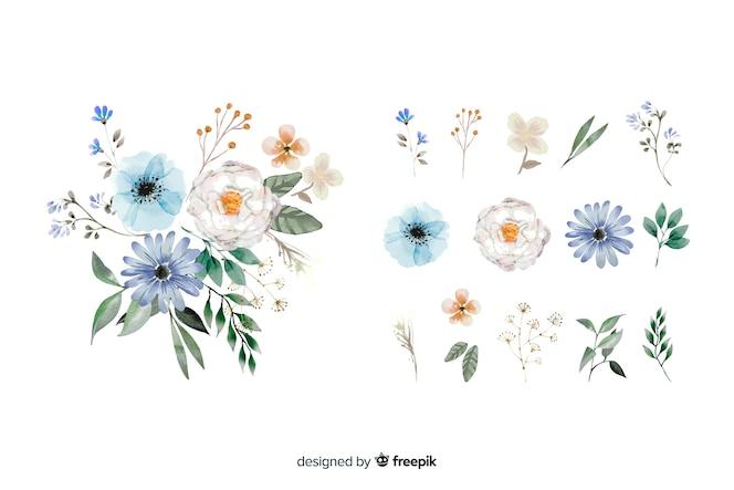 2 dのリアルな花の花束