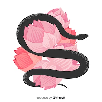 2d snake with flowers background