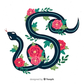 2d snake with flowers