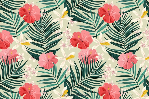 2d tropical background with flowers and leaves