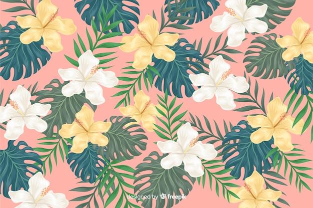 2 dの熱帯の花の背景
