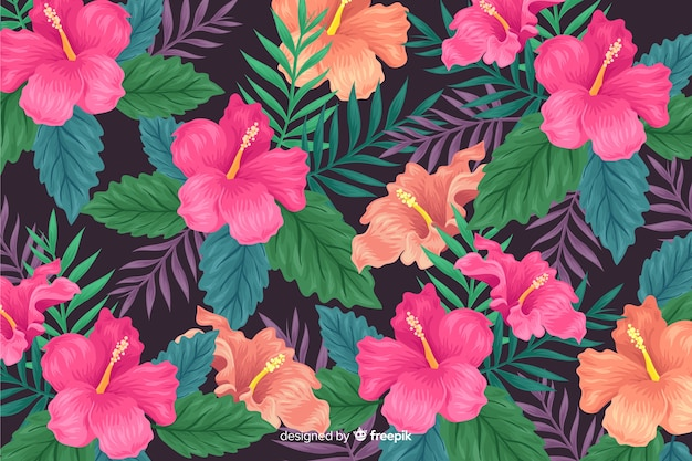 2d tropical flowers background