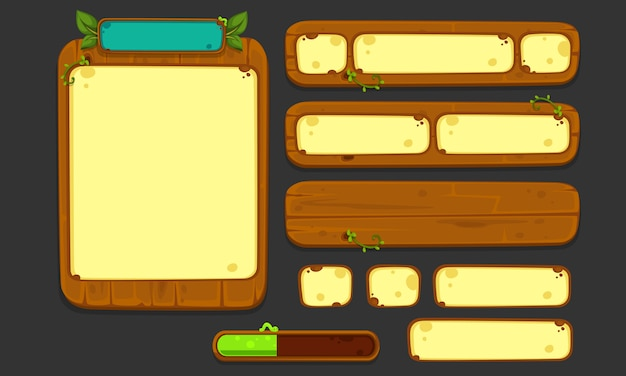 2dゲームやアプリのためのui要素のセット、jungle game ui part 2