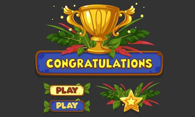 2dゲームやアプリのためのui要素のセット、jungle game ui part 5