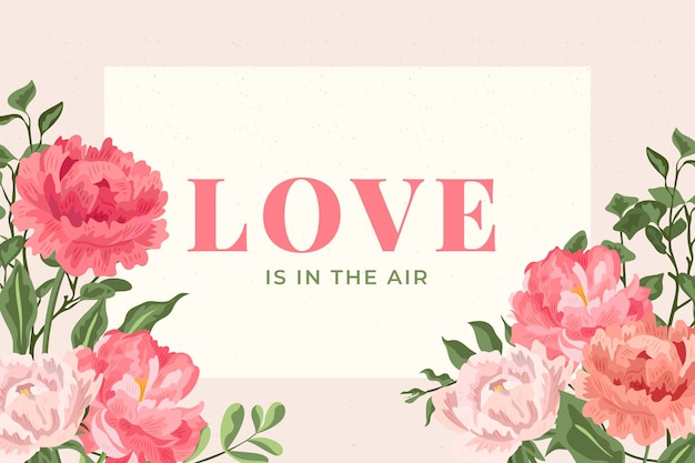 2d vintage flowers background with love in the air lettering