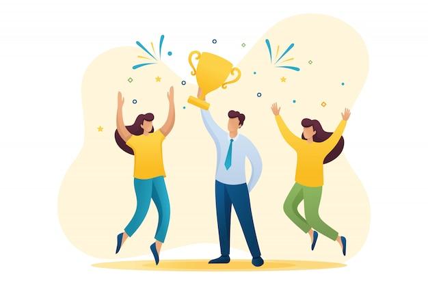 成功を収めたビジネスマンが勝利を祝い、カップ優勝者を勝利に導きます。フラット2dキャラクター。 webデザインのコンセプト