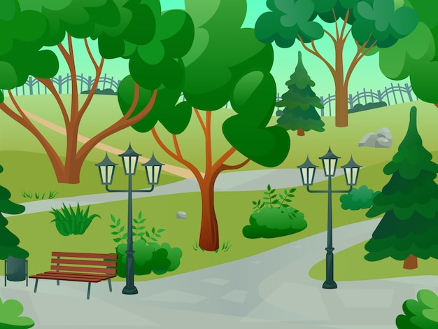 Парк 2d игровой пейзаж