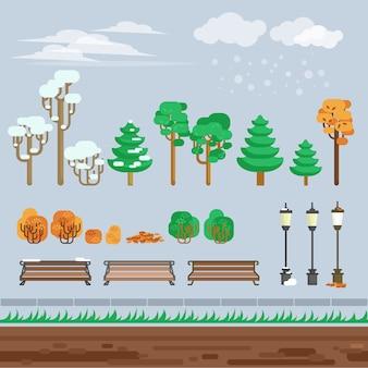ゲーム2d冬の風景公園の背景