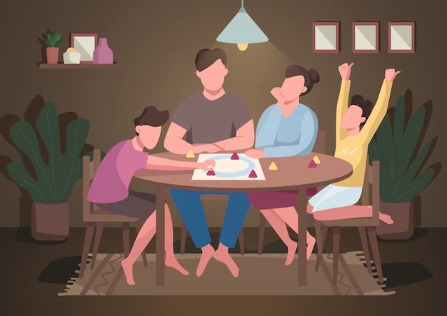 家族プレイボードゲームフラットカラーイラスト。子供と親のための夜のエンターテイメント。ママとパパは卓上ゲームをプレイします。背景にインテリアを持つ親戚2d漫画のキャラクター