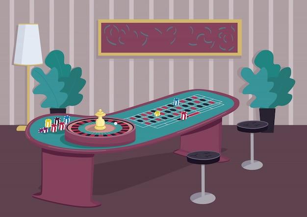 ルーレットテーブルフラットカラーイラスト。賭けに勝つための賭博ゲーム。赤に株式を置く。黒のチップ。スピンホイールリール。背景の装飾が施されたカジノルーム2d漫画インテリア