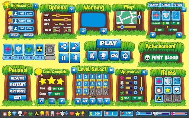 インターフェイスゲームのデザイン。 2dゲームを作成するために必要なすべての画面