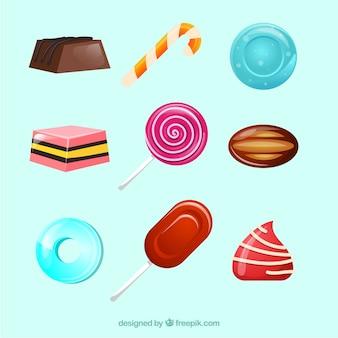 Вкусная коллекция конфет в стиле 2d