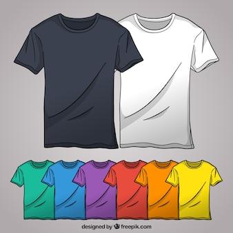 2d цветная коллекция футболок с ручным рисунком