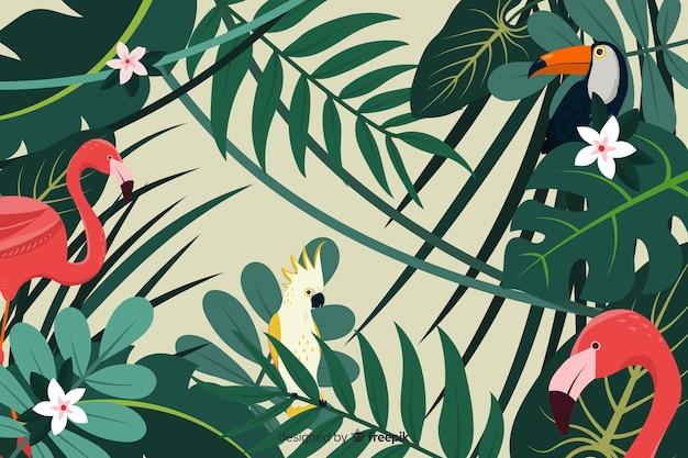 2d тропический фон из листьев и птиц