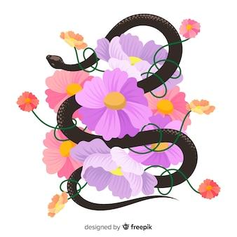2d змея с цветами фона