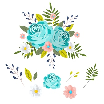 Комплект иллюстрации 2d флористического букета