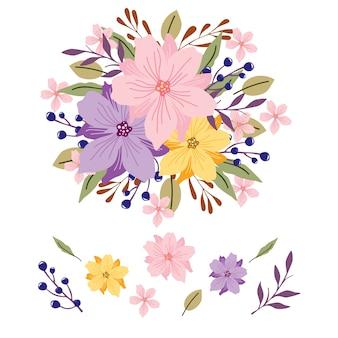 Иллюстрация 2d флористического букета установленная