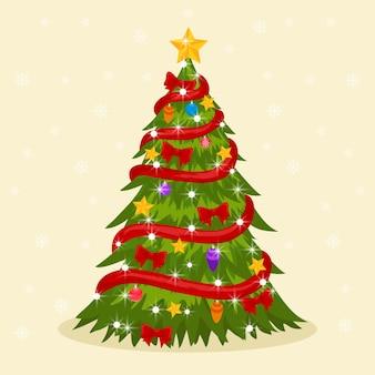 Концепция новогодней елки в стиле 2d