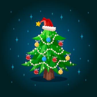 2d背景のクリスマスツリー