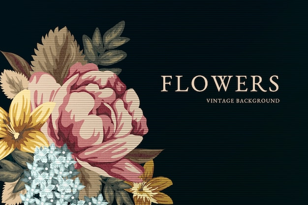 2d винтажные цветы фон