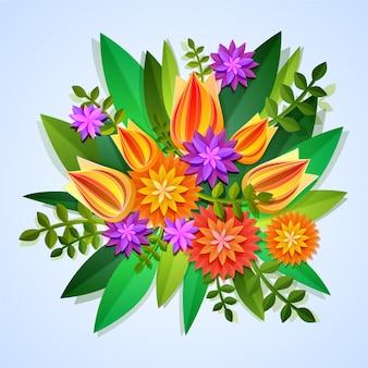 2d красочные цветы градиентной бумаги стиль